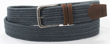 Chiny PU Tip Vintage Navy Woven Elastic Belt, Old Silver Buckle Mens Elastic Stretch Belts fabryka