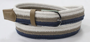 Chiny Taupe PU Tip And Loop Mens Woven Elastic Belt, Multi Colours Woven Stretch Belt fabryka